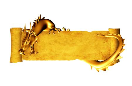 dragones: Drag�n y rollo de pergamino antiguo. Objeto aislado sobre blanco