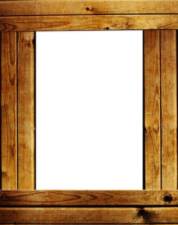 Wooden frame - object over white photo