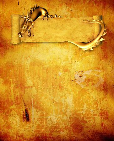 Grunge achtergrond met dragon en schuif oude perkament