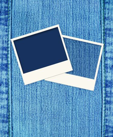 Blue jeans background with three photoframes photo