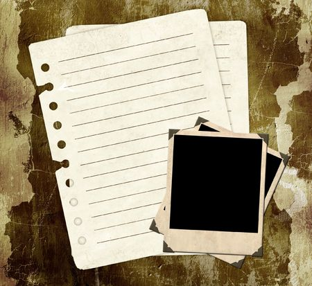 Grunge background with notebook pages and photos photo