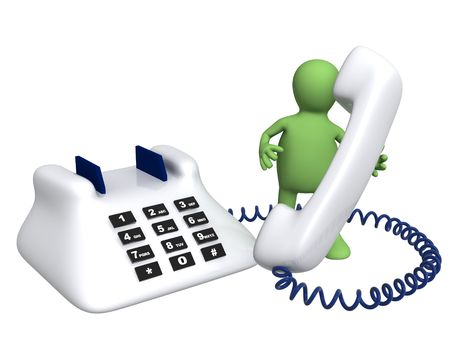 customer service phone: Puppet with phone - isolated over white Stock Photo