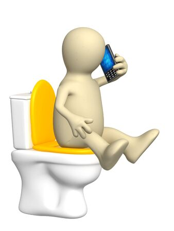 toilet bowl: 3d puppet, sitting with a phone on toilet bowl Stock Photo