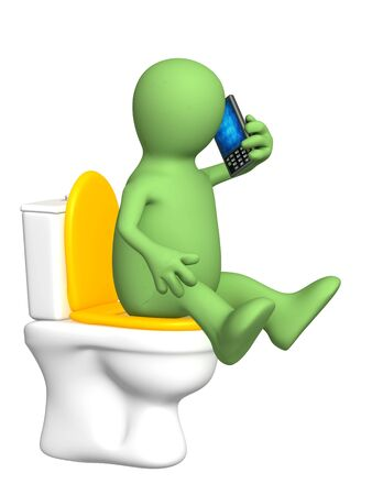 telephone cartoon: 3d puppet, sitting with a phone on toilet bowl Stock Photo