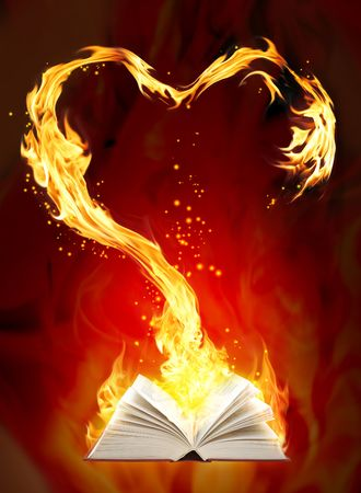 burning love: Love fairy-tale - vertical valentine background