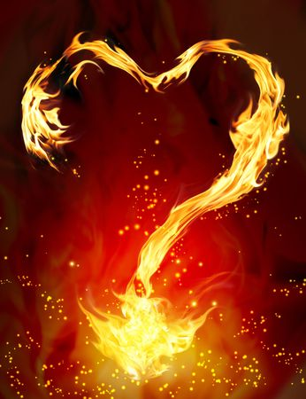 Bright flame in the form of heart