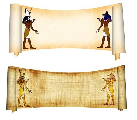 Scrolls with Egyptian gods images - Anubis and Horus. Object over white photo