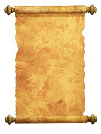 pergamino: Despl�cese de viejos pergaminos. Objeto sobre blanco