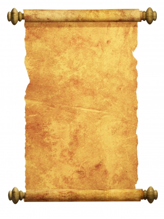 ancient scroll: Scroll of old parchment. Object over white