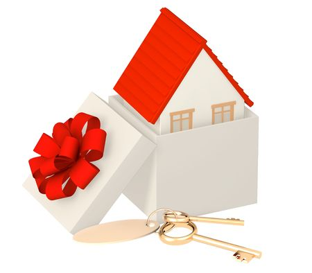 house keys: Conceptual image - the house in gift packing  Stock Photo