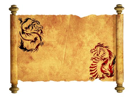 ancient creature: Sheet of ancient parchment with the image of dragons Stock Photo