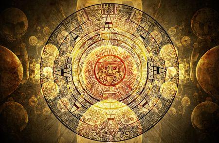 Horizontal background with Maya calendar