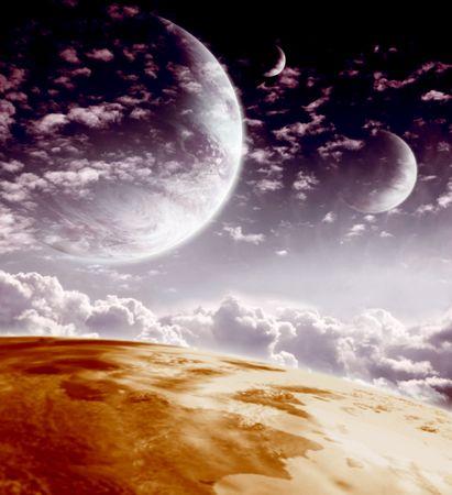 interplanetary: Sky in alien planet. Fantasy landscape