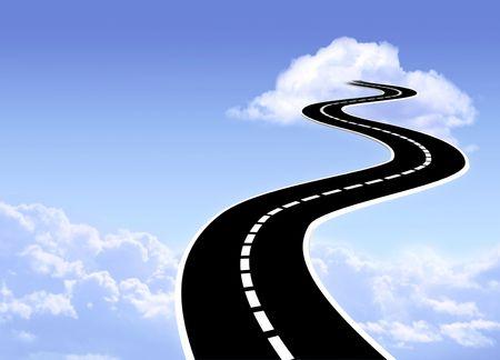 Conceptual image - road to sky photo