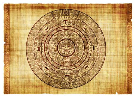 Maya calendar on ancient parchment photo