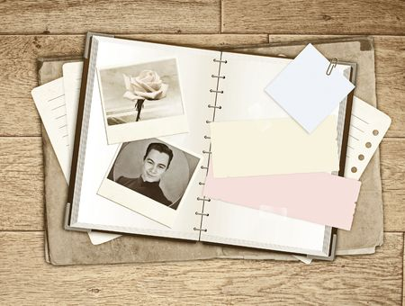 Grunge background with notebook and photos Stock Photo - 6821968