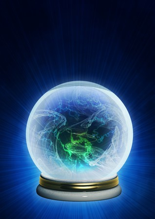 and guessing: Magic ball. Vertical background of blue color Stock Photo