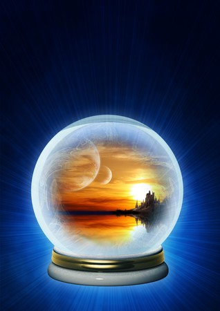Landscape of fantasy world in magic ball photo