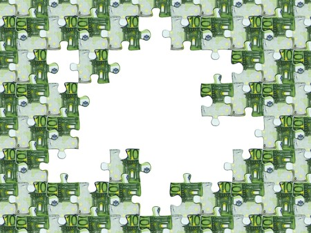 Collected puzzle with the image of euro photo