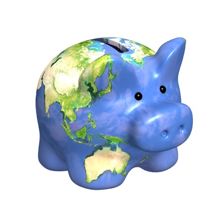 bank crisis: Planet the Earth in piggy bank form
