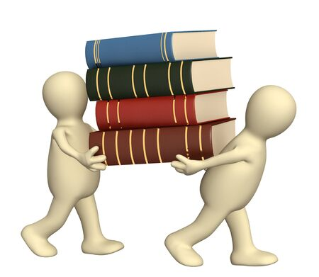 3d puppets with books - over white photo