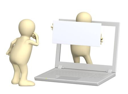 petition: 3d puppet with information board and laptop