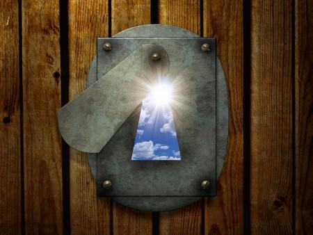 key to freedom: Sun en el ojo de la cerradura de retro abierto. procesamiento 3D