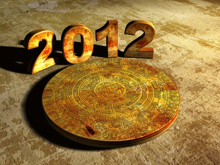 Stone Maya calendar and numbers 2012. 3d photo
