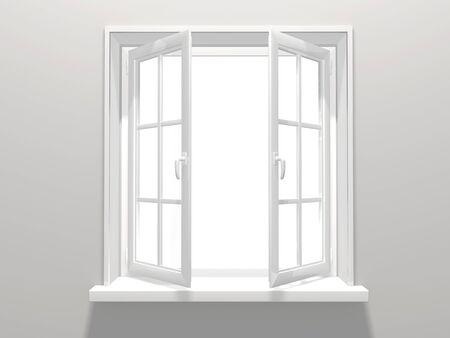 view through: Opened plastic window. 3d render