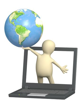3d puppet with Earth in hand - over white Stock Photo - 7045604