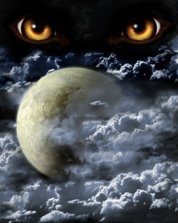 Dark series - full moon. Horror in night photo