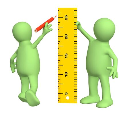 3d puppets with ruler - over white Stock Photo - 7074900