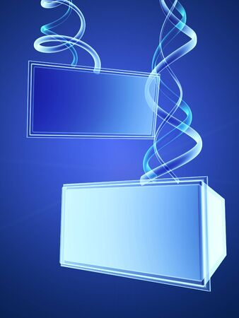 blue signage: Two 3d digital transparent screens