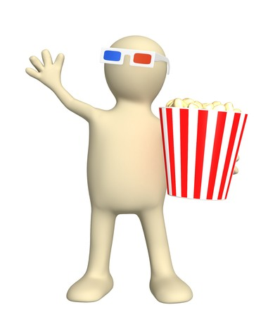 Puppet - spectator with popcorn. Isolated over white photo