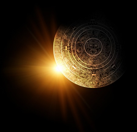 Sun and Maya calendar. 3d render Stock Photo