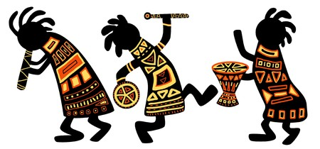 drum: Dancing musicians. African national patterns
