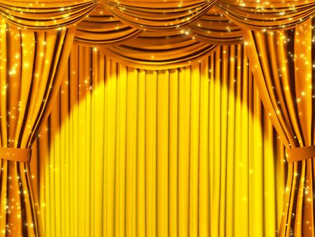 Theatrical curtain of yellow color photo