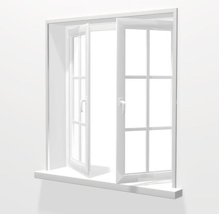 opening window: Abrir ventana de pl�stico. procesamiento 3D  Foto de archivo