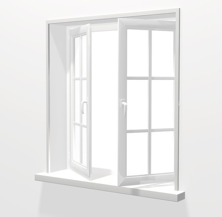 windows frame: Opened plastic window. 3d render