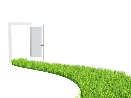 health symbols metaphors: Conceptual image - road with bright green grass