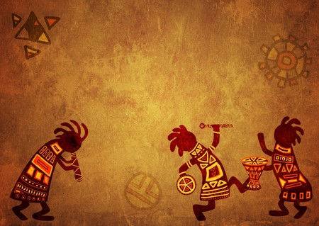 Dancing musicians. African national patterns photo