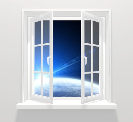 astral: Collage - window in other galaxy Stock Photo