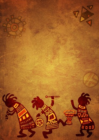 ethnic festival: Dancing musicians. African national patterns