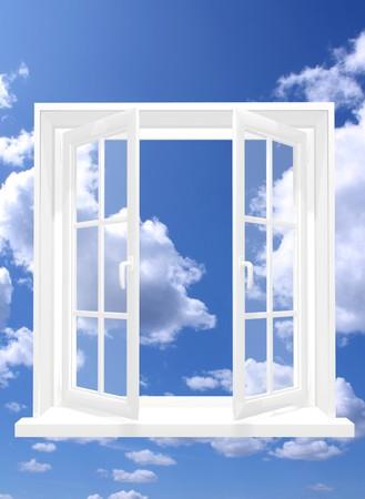 ventana abierta interior: Imagen conceptual - ventana en cielo  Foto de archivo