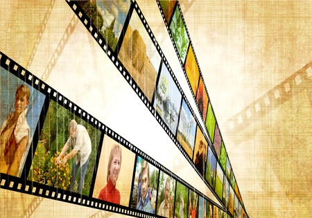 Grunge background with image of a filmstrip photo