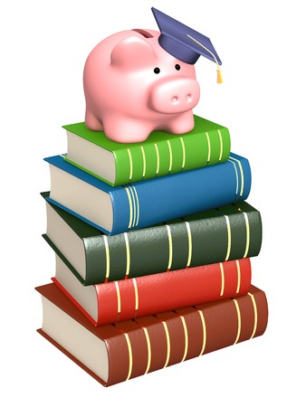 education loan: Piggy bank with cap and books. Objects over white