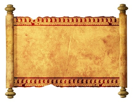 middle eastern: Scroll with Egyptian images. Object over white Stock Photo