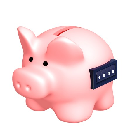 Piggy bank with counter. Isolated over white photo