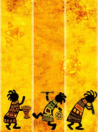 Dancing musicians. African traditional patterns photo