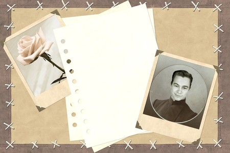 Grunge background with notebook and photos Stock Photo - 7295750